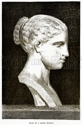 Head of a Greek Woman. Illustration from History of Greece by Victor Duruy (Boston, 1890).