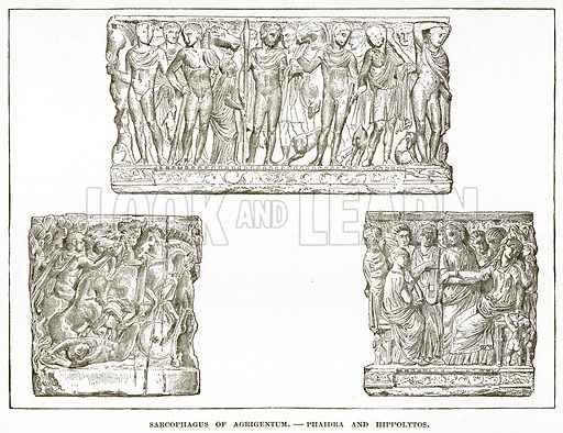 Sarcophagus of Agrigentum.--Phaidra and Hippolytos. Illustration from History of Greece by Victor Duruy (Boston, 1890).