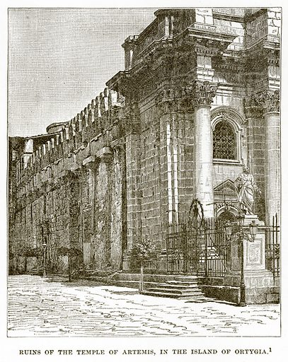 Ruins of the Temple of Artemis, in the Island of Ortygia. Illustration from History of Greece by Victor Duruy (Boston, 1890).