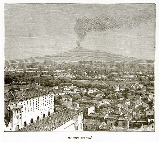 Mount Etna. Illustration from History of Greece by Victor Duruy (Boston, 1890).