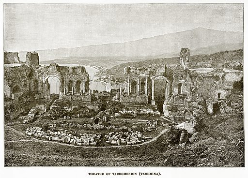 Theatre of Tauromenion (Taormina). Illustration from History of Greece by Victor Duruy (Boston, 1890).