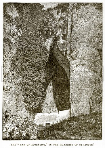 """The """"Ear of Dionysios,"""" in the Quarries of Syracuse. Illustration from History of Greece by Victor Duruy (Boston, 1890)."""