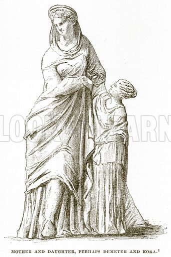 Mother and Daughter, perhaps Demeter and Kora. Illustration from History of Greece by Victor Duruy (Boston, 1890).