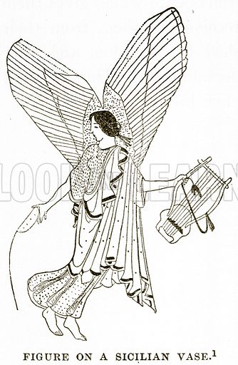 Figure on a Sicilian Vase. Illustration from History of Greece by Victor Duruy (Boston, 1890).
