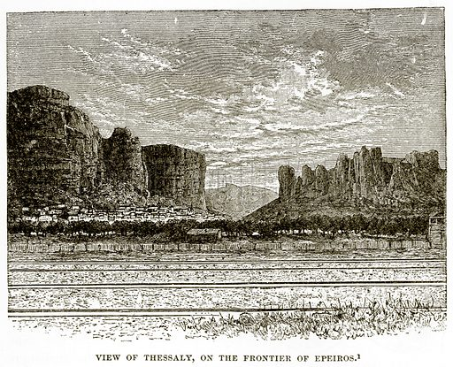 View of Thessaly, on the Frontier of Epeiros. Illustration from History of Greece by Victor Duruy (Boston, 1890).