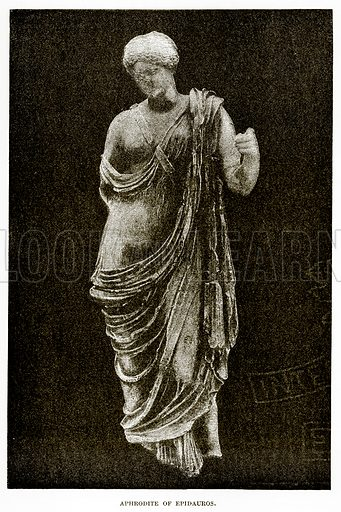 Aphrodite of Epidauros. Illustration from History of Greece by Victor Duruy (Boston, 1890).