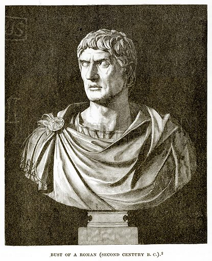 Bust of a Roman (Second Century B. C.). Illustration from History of Greece by Victor Duruy (Boston, 1890).
