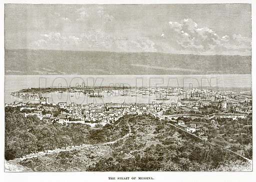 The Strait of Messina. Illustration from History of Greece by Victor Duruy (Boston, 1890).