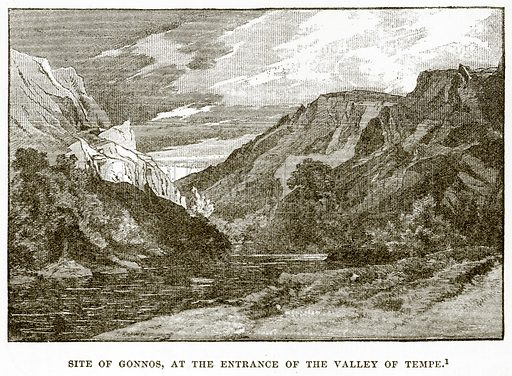 Site of Gonnos, at the entrance of the Valley of Tempe. Illustration from History of Greece by Victor Duruy (Boston, 1890).