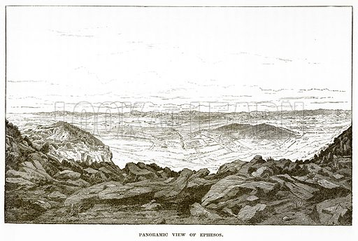 Panoramic view of Ephesos. Illustration from History of Greece by Victor Duruy (Boston, 1890).