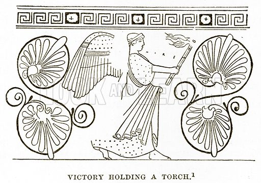 Victory holding a Torch. Illustration from History of Greece by Victor Duruy (Boston, 1890).