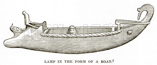 Lamp in the form of a Boat. Illustration from History of Greece by Victor Duruy (Boston, 1890).