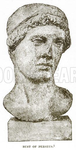 Bust of Perseus. Illustration from History of Greece by Victor Duruy (Boston, 1890).