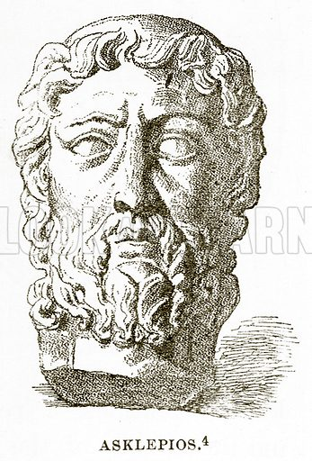 Asklepios. Illustration from History of Greece by Victor Duruy (Boston, 1890).
