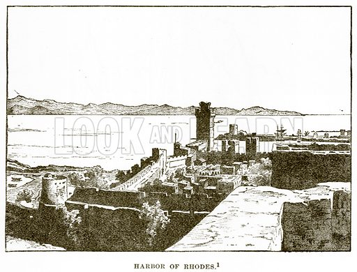 Harbor of Rhodes. Illustration from History of Greece by Victor Duruy (Boston, 1890).