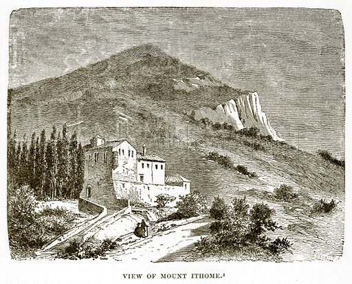 View of Mount Ithome. Illustration from History of Greece by Victor Duruy (Boston, 1890).