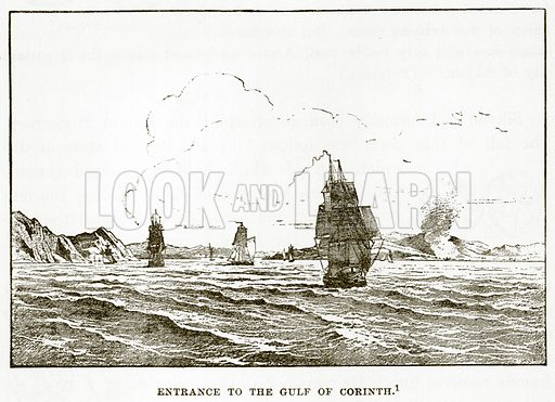Entrance to the Gulf of Corinth. Illustration from History of Greece by Victor Duruy (Boston, 1890).