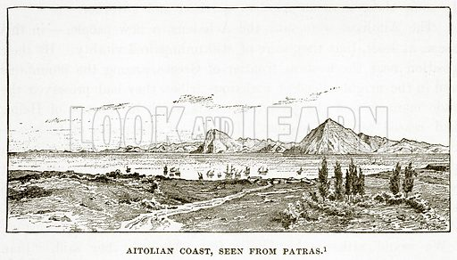 Aitolian Coast, seen from Patras. Illustration from History of Greece by Victor Duruy (Boston, 1890).