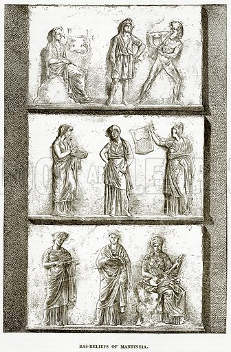 Bas-Reliefs of Mantineia. Illustration from History of Greece by Victor Duruy (Boston, 1890).