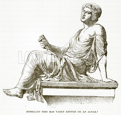 Suppliant who has taken refuge on an Altar. Illustration from History of Greece by Victor Duruy (Boston, 1890).