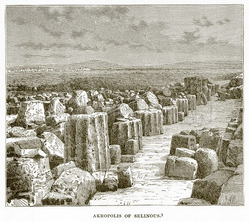 Akropolis of Selinous. Illustration from History of Greece by Victor Duruy (Boston, 1890).