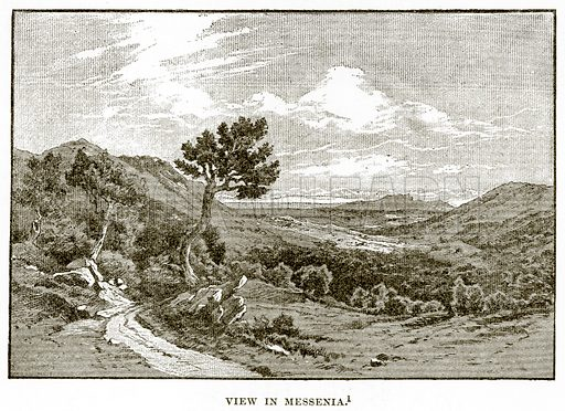 View in Messenia. Illustration from History of Greece by Victor Duruy (Boston, 1890).