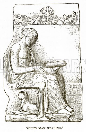 Young Man reading. Illustration from History of Greece by Victor Duruy (Boston, 1890).