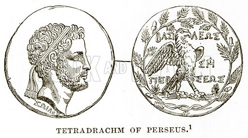 Tetradrachm of Perseus. Illustration from History of Greece by Victor Duruy (Boston, 1890).