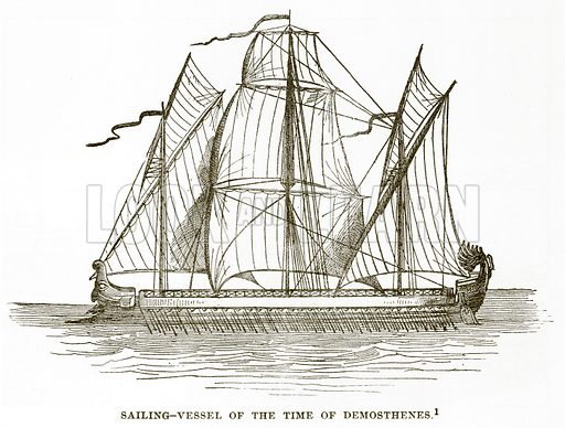Sailing-Vessel of the Time of Demosthenes. Illustration from History of Greece by Victor Duruy (Boston, 1890).