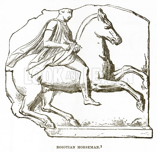 Boiotian Horseman. Illustration from History of Greece by Victor Duruy (Boston, 1890).