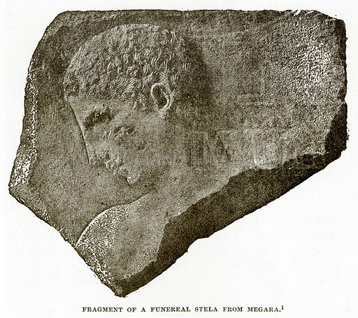 Fragment of a Funereal Stela from Megara. Illustration from History of Greece by Victor Duruy (Boston, 1890).