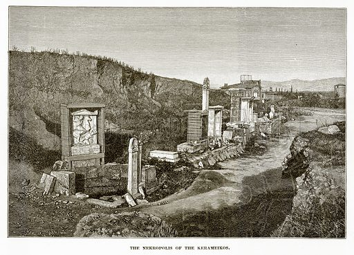 The Nekropolis of the Kerameikos. Illustration from History of Greece by Victor Duruy (Boston, 1890).