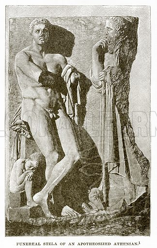 Funereal Stela of an Apotheosized Athenian. Illustration from History of Greece by Victor Duruy (Boston, 1890).
