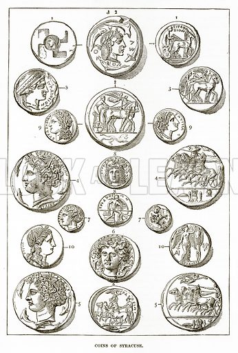Coins of Syracuse. Illustration from History of Greece by Victor Duruy (Boston, 1890).