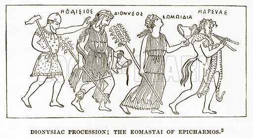 Dionysiac Procession; the Komastai of Epicharmos. Illustration from History of Greece by Victor Duruy (Boston, 1890).