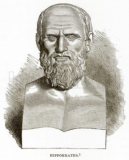 Hippokrates. Illustration from History of Greece by Victor Duruy (Boston, 1890).