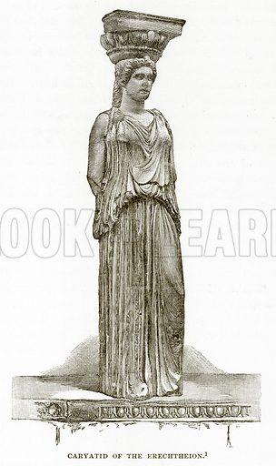 Caryatid of the Erechtheion. Illustration from History of Greece by Victor Duruy (Boston, 1890).