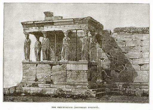 The Erechtheion (Southern Portico). Illustration from History of Greece by Victor Duruy (Boston, 1890).