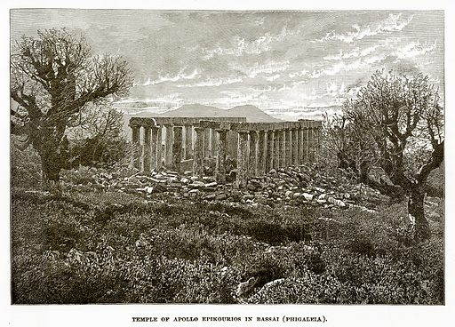 Temple of Apollo Epikourios in Bassai (Phigaleia). Illustration from History of Greece by Victor Duruy (Boston, 1890).