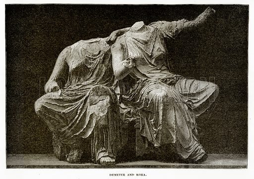 Demeter and Kora. Illustration from History of Greece by Victor Duruy (Boston, 1890).
