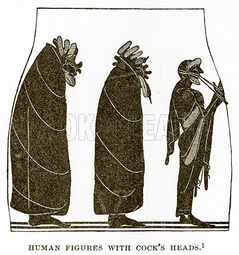 Human Figures with Cock's Heads. Illustration from History of Greece by Victor Duruy (Boston, 1890).