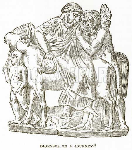 Dionysos on a Journey. Illustration from History of Greece by Victor Duruy (Boston, 1890).