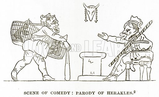 Scene of Comedy: Parody of Herakles. Illustration from History of Greece by Victor Duruy (Boston, 1890).