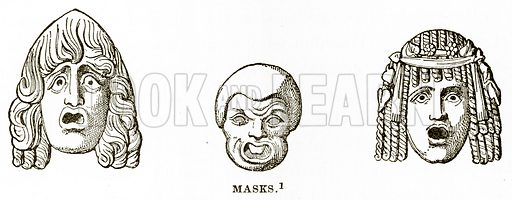 Masks. Illustration from History of Greece by Victor Duruy (Boston, 1890).