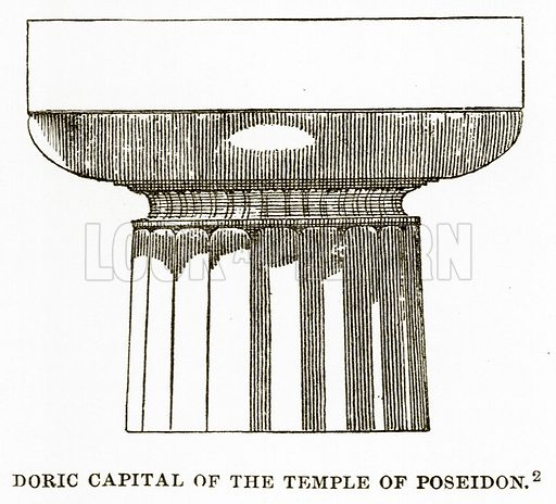 Doric Capital of the Temple of Poseidon. Illustration from History of Greece by Victor Duruy (Boston, 1890).