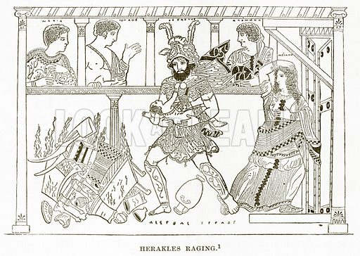 Herakles Raging. Illustration from History of Greece by Victor Duruy (Boston, 1890).