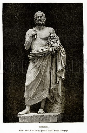 Euripides. Marble Statue in the Vatican (Braccio Nuovo). Illustration from History of Greece by Victor Duruy (Boston, 1890).
