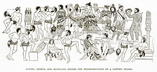 Actors, Chorus, and Musicians before the Representation of a Satyric Drama. Illustration from History of Greece by Victor Duruy (Boston, 1890).