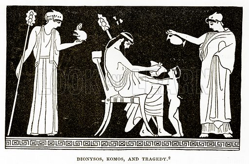 Dionysos, Komos, and Tragedy. Illustration from History of Greece by Victor Duruy (Boston, 1890).