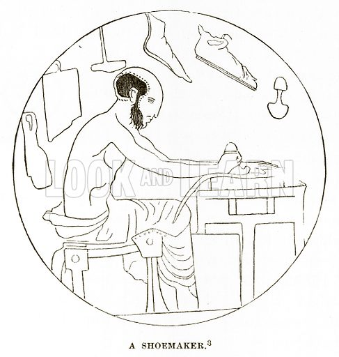 A Shoemaker. Illustration from History of Greece by Victor Duruy (Boston, 1890).